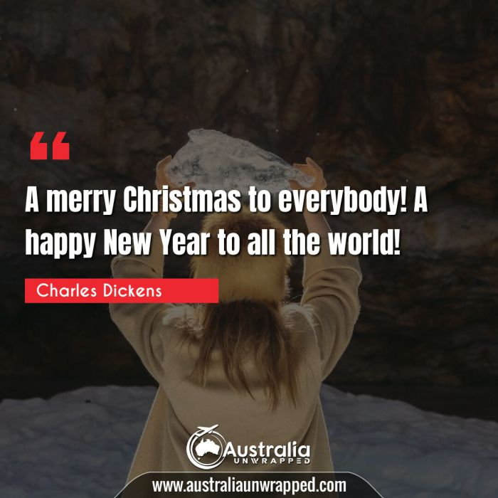 A merry Christmas to everybody! A happy New Year to all the world!