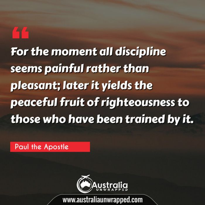 For the moment all discipline seems painful rather than pleasant; later it yields the peaceful fruit of righteousness to those who have been trained by it.