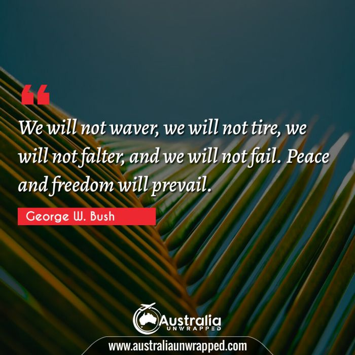 We will not waver, we will not tire, we will not falter, and we will not fail. Peace and freedom will prevail.