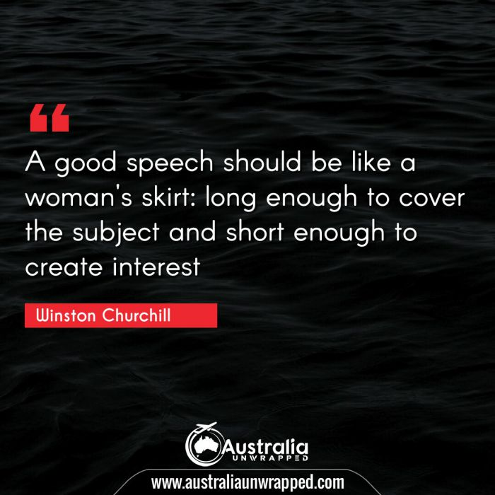 A good speech should be like a woman's skirt: long enough to cover the subject and short enough to create interest