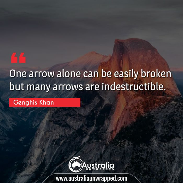 One arrow alone can be easily broken but many arrows are indestructible.