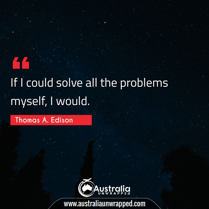 If I could solve all the problems myself, I would.