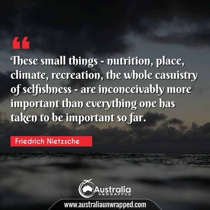 These small things - nutrition, place, climate, recreation, the whole casuistry of selfishness - are inconceivably more important than everything one has taken to be important so far.