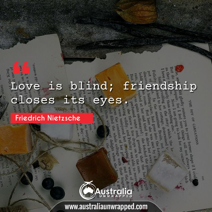Love is blind; friendship closes its eyes.