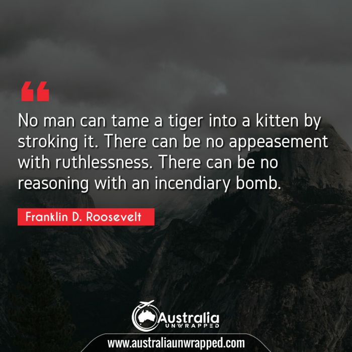 No man can tame a tiger into a kitten by stroking it. There can be no appeasement with ruthlessness. There can be no reasoning with an incendiary bomb.