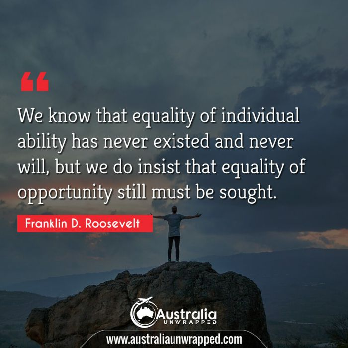 We know that equality of individual ability has never existed and never will, but we do insist that equality of opportunity still must be sought.
