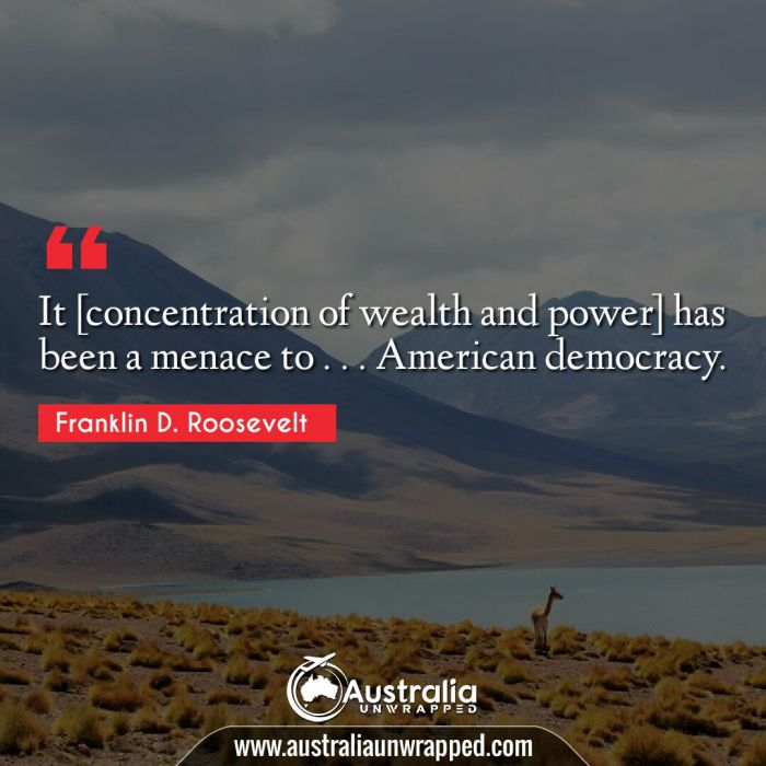 It [concentration of wealth and power] has been a menace to . . . American democracy.