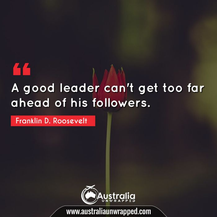 A good leader can't get too far ahead of his followers.