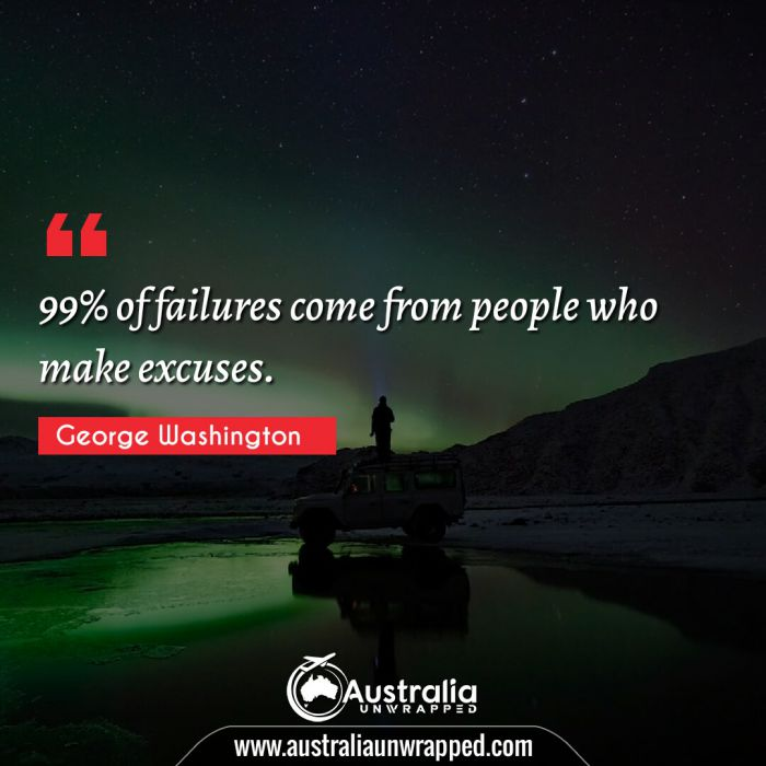 99% of failures come from people who make excuses.
