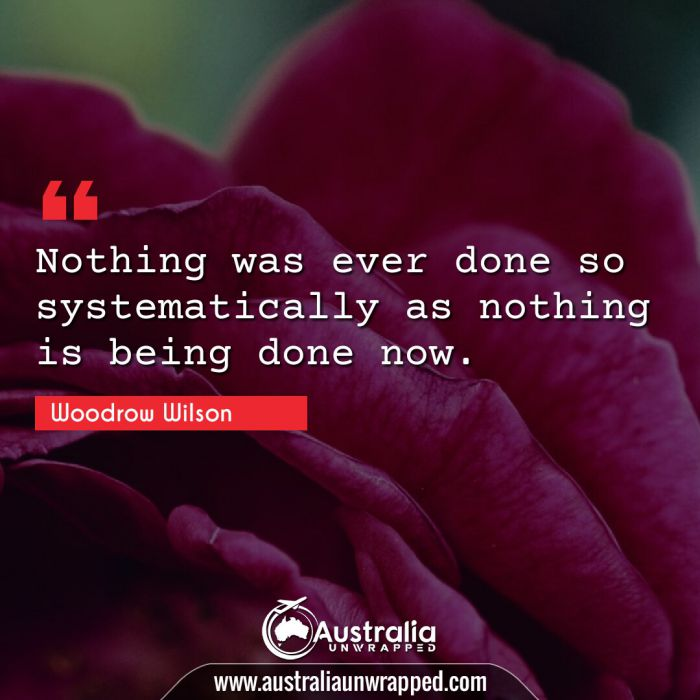 Nothing was ever done so systematically as nothing is being done now.