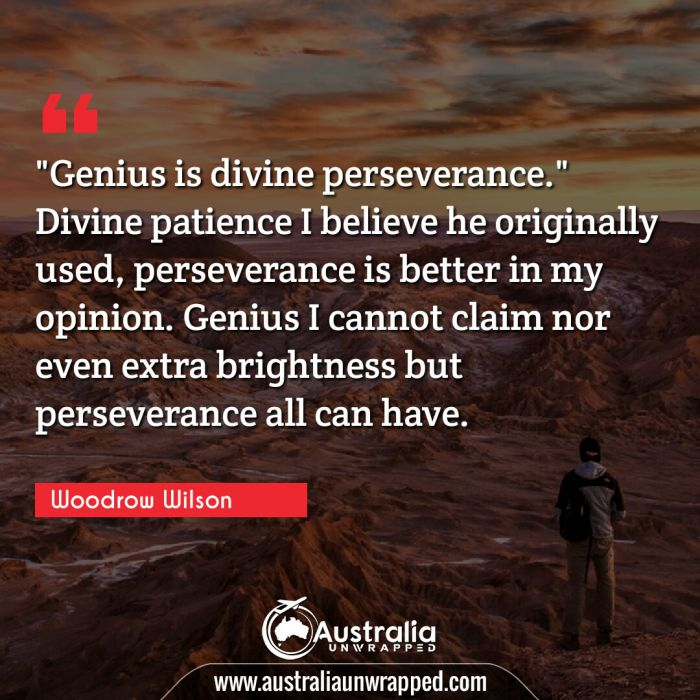 "Genius is divine perseverance."" Divine patience I believe he originally used perseverance is better in my opinion. Genius I cannot claim nor even extra brightness but perseverance all can have."""