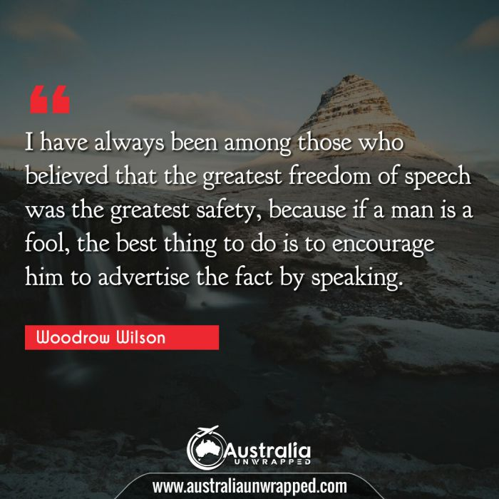 I have always been among those who believed that the greatest freedom of speech was the greatest safety, because if a man is a fool, the best thing to do is to encourage him to advertise the fact by speaking.