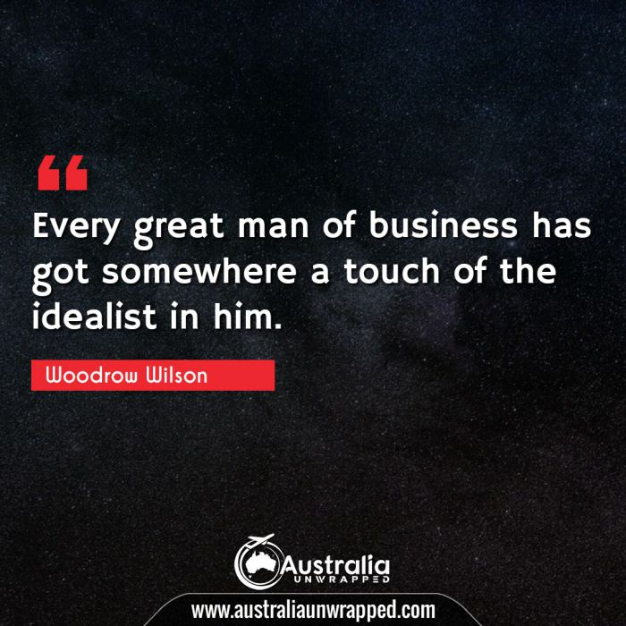 Every great man of business has got somewhere a touch of the idealist in him.