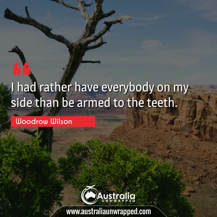 I had rather have everybody on my side than be armed to the teeth.