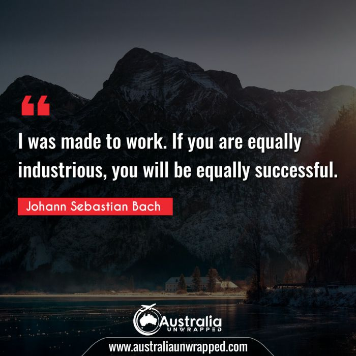 I was made to work. If you are equally industrious, you will be equally successful.