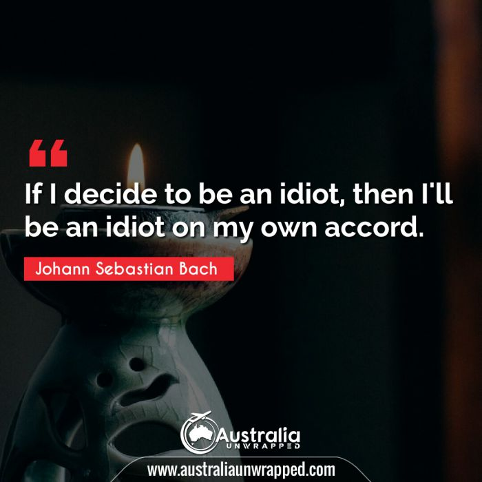 If I decide to be an idiot, then I'll be an idiot on my own accord.