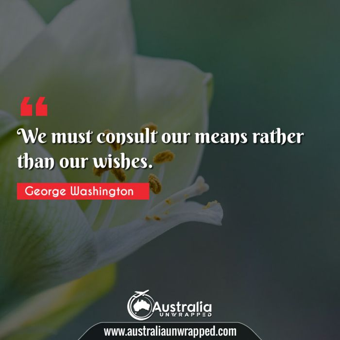 We must consult our means rather than our wishes.