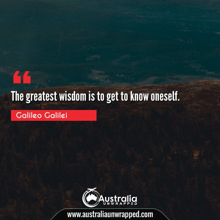 The greatest wisdom is to get to know oneself.