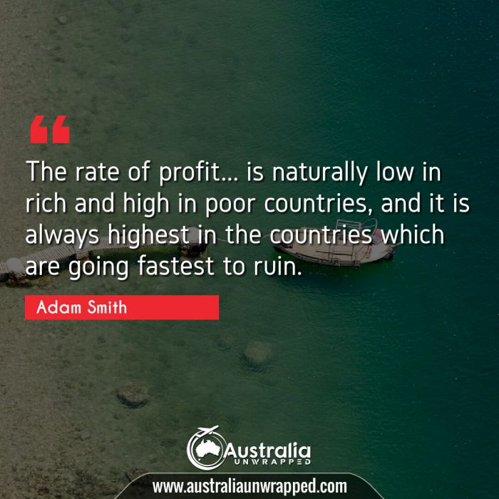 The rate of profit… is naturally low in rich and high in poor countries, and it is always highest in the countries which are going fastest to ruin.