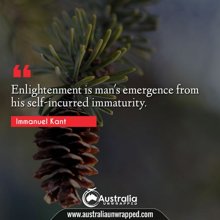 Enlightenment is man's emergence from his self-incurred immaturity.