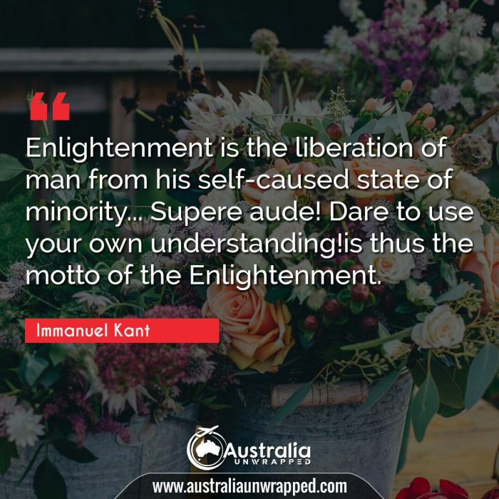 Enlightenment is the liberation of man from his self-caused state of minority… Supere aude! Dare to use your own understanding!is thus the motto of the Enlightenment.