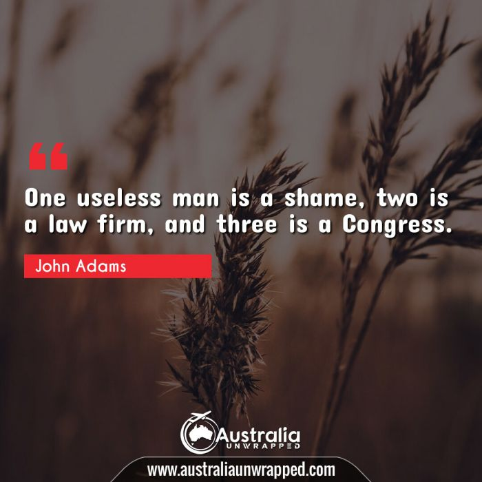 One useless man is a shame, two is a law firm, and three is a Congress.
