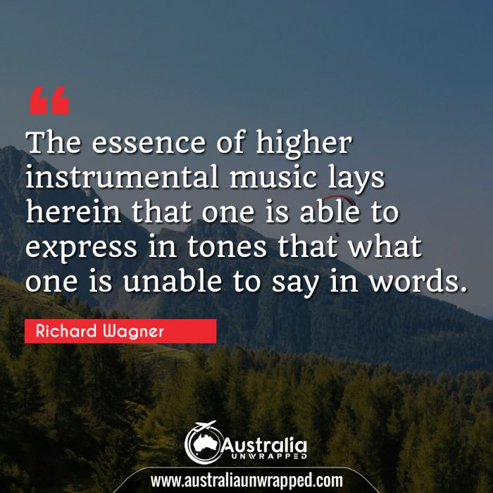 The essence of higher instrumental music lays herein that one is able to express in tones that what one is unable to say in words