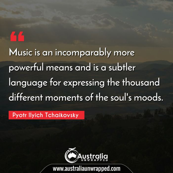 Music is an incomparably more powerful means and is a subtler language for expressing the thousand different moments of the soul's moods.