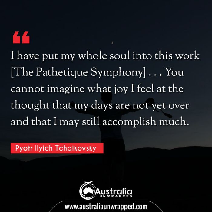 I have put my whole soul into this work [The Pathetique Symphony] . . . You cannot imagine what joy I feel at the thought that my days are not yet over and that I may still accomplish much.