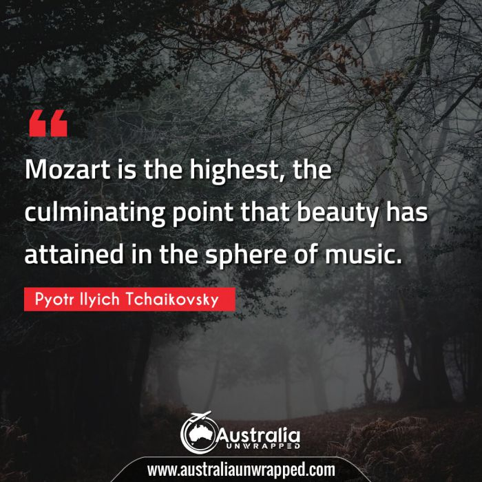 Mozart is the highest, the culminating point that beauty has attained in the sphere of music.