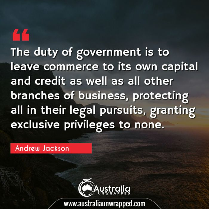 The duty of government is to leave commerce to its own capital and credit as well as all other branches of business, protecting all in their legal pursuits, granting exclusive privileges to none.