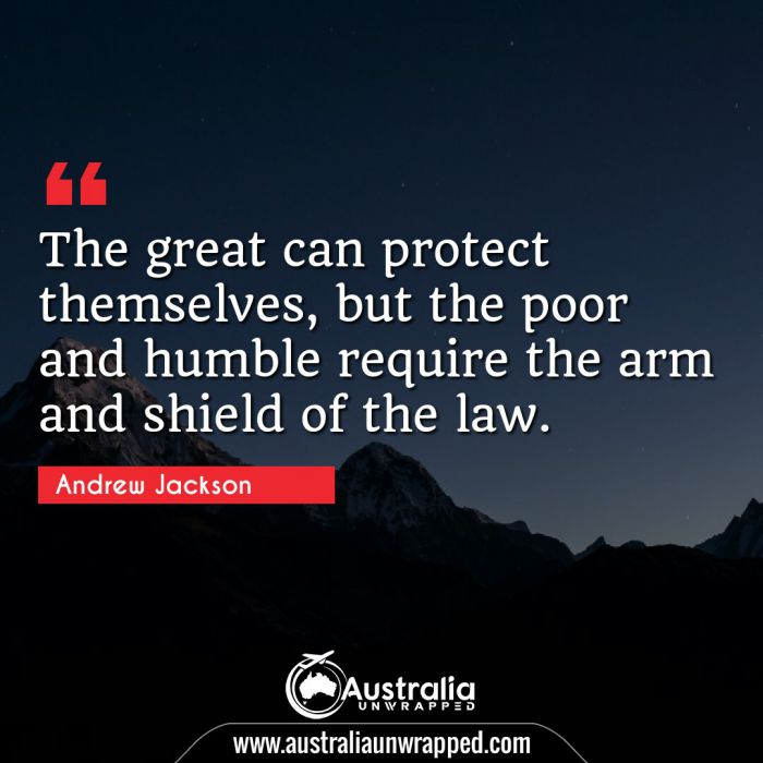 The great can protect themselves, but the poor and humble require the arm and shield of the law.