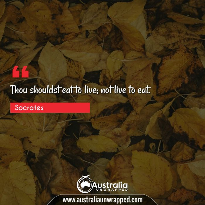 Thou shouldst eat to live; not live to eat.
