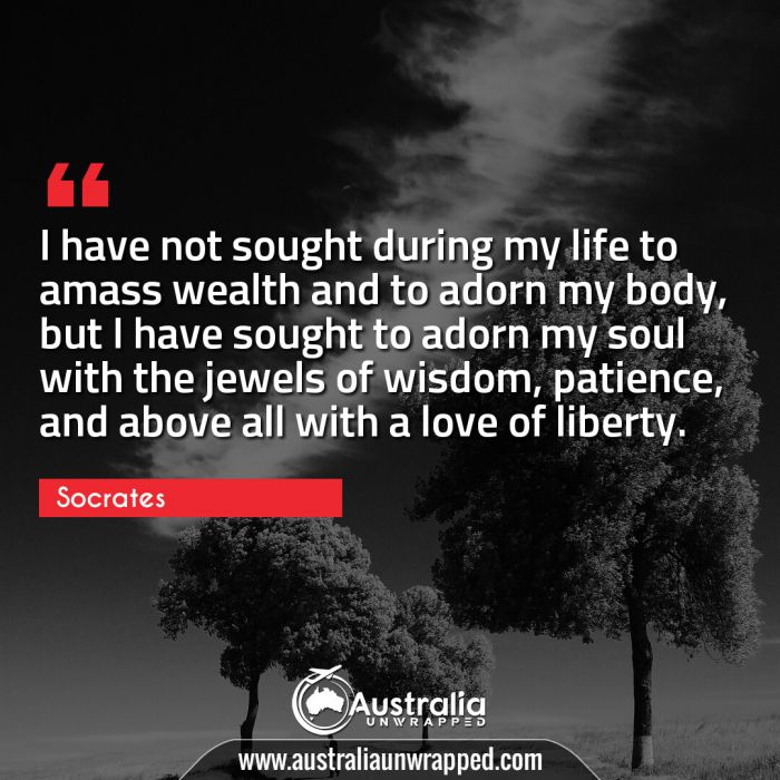 I have not sought during my life to amass wealth and to adorn my body, but I have sought to adorn my soul with the jewels of wisdom, patience, and above all with a love of liberty.