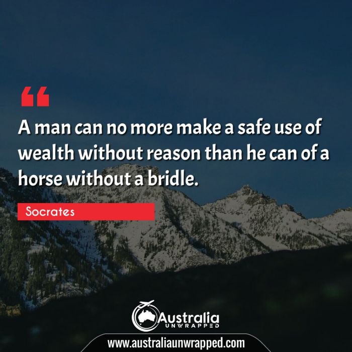 A man can no more make a safe use of wealth without reason than he can of a horse without a bridle.
