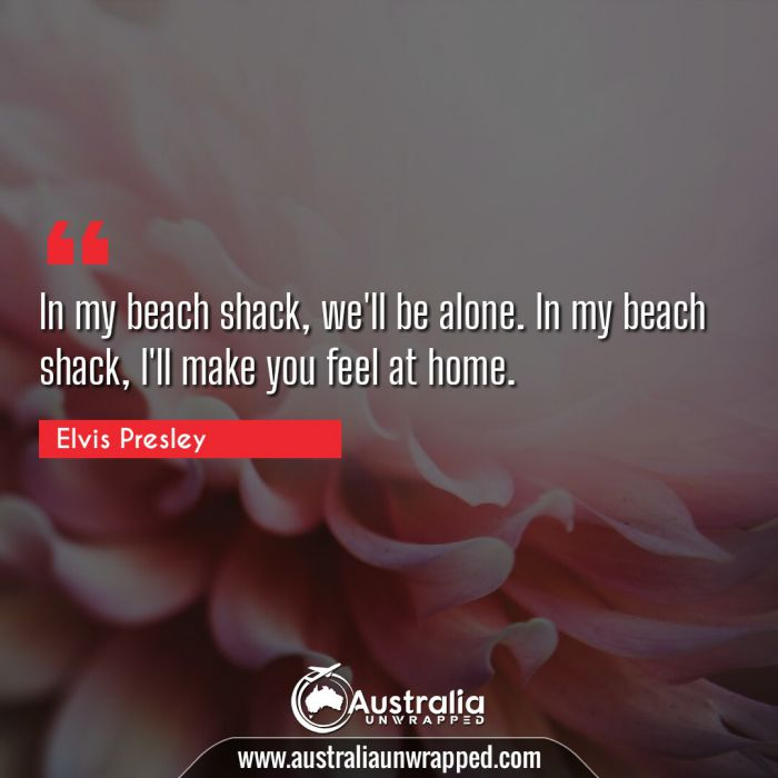 In my beach shack, we'll be alone. In my beach shack, I'll make you feel at home.