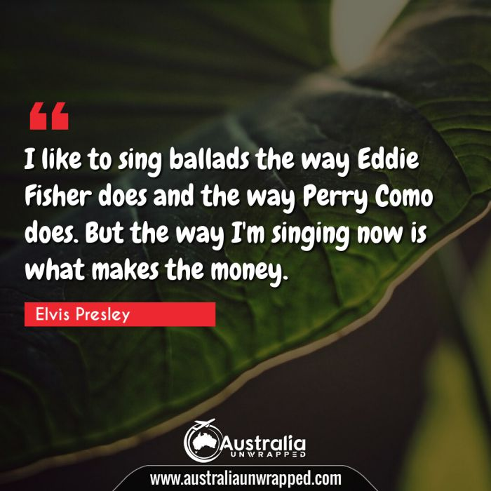 I like to sing ballads the way Eddie Fisher does and the way Perry Como does. But the way I'm singing now is what makes the money.