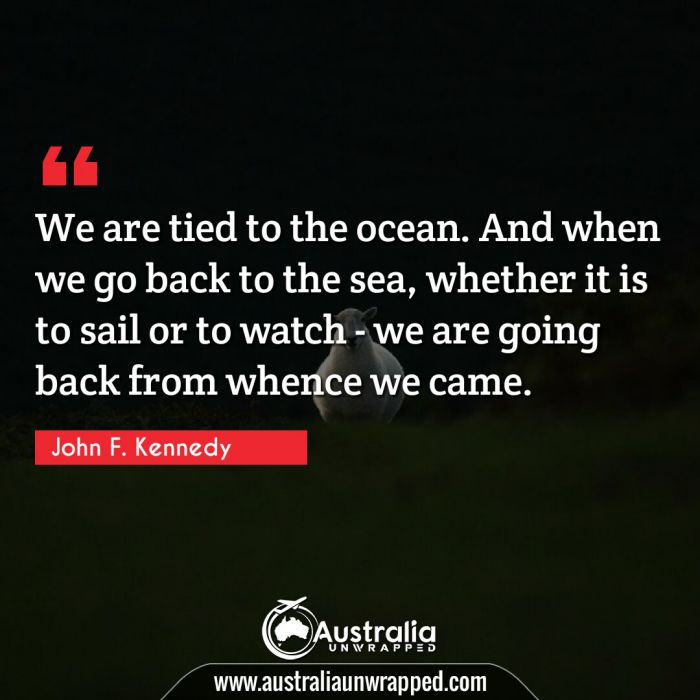 We are tied to the ocean. And when we go back to the sea, whether it is to sail or to watch - we are going back from whence we came.