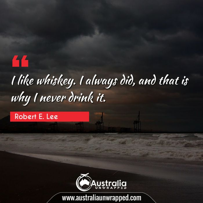 I like whiskey. I always did, and that is why I never drink it.