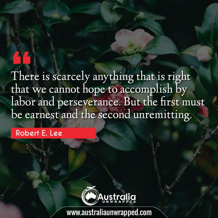 There is scarcely anything that is right that we cannot hope to accomplish by labor and perseverance. But the first must be earnest and the second unremitting.