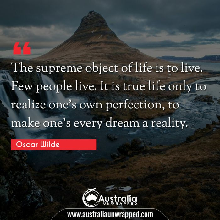 The supreme object of life is to live. Few people live. It is true life only to realize one's own perfection, to make one's every dream a reality.