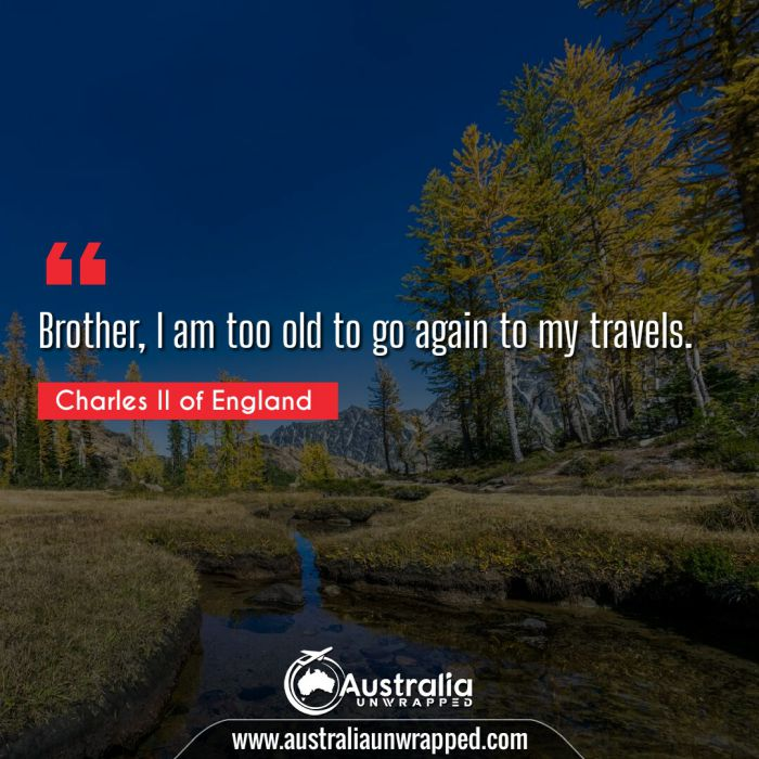 Brother, I am too old to go again to my travels.