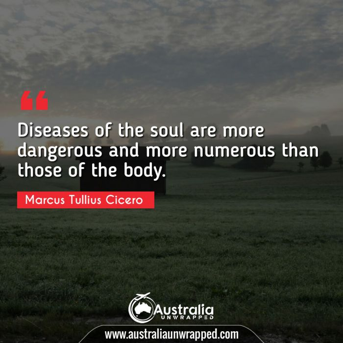 Diseases of the soul are more dangerous and more numerous than those of the body.