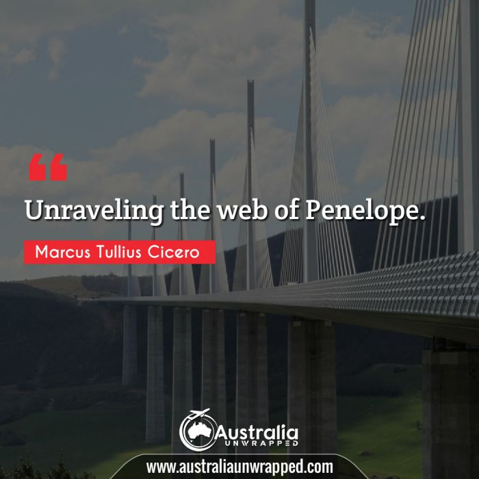 Unraveling the web of Penelope.
