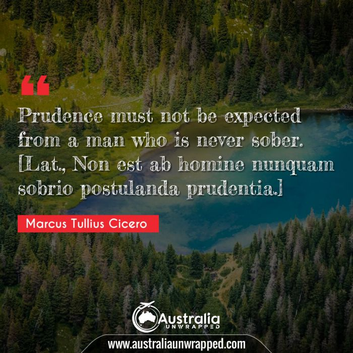 Prudence must not be expected from a man who is never sober. [Lat., Non est ab homine nunquam sobrio postulanda prudentia.]