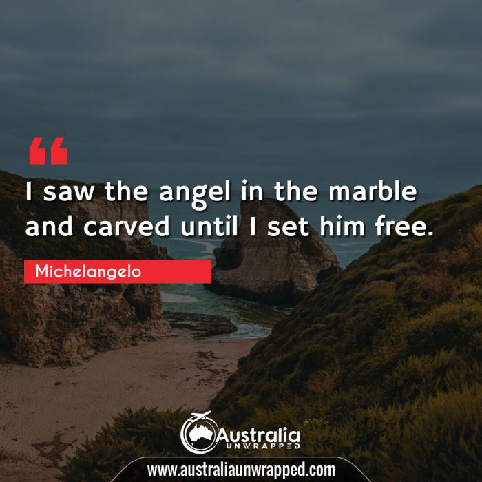 I saw the angel in the marble and carved until I set him free.