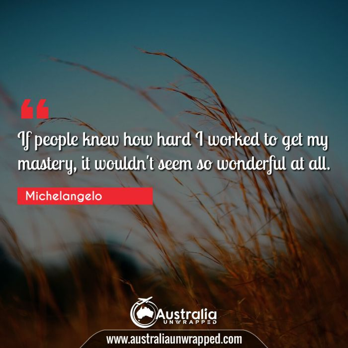 If people knew how hard I worked to get my mastery, it wouldn't seem so wonderful at all.