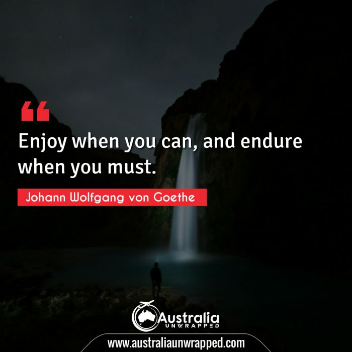 Enjoy when you can, and endure when you must.