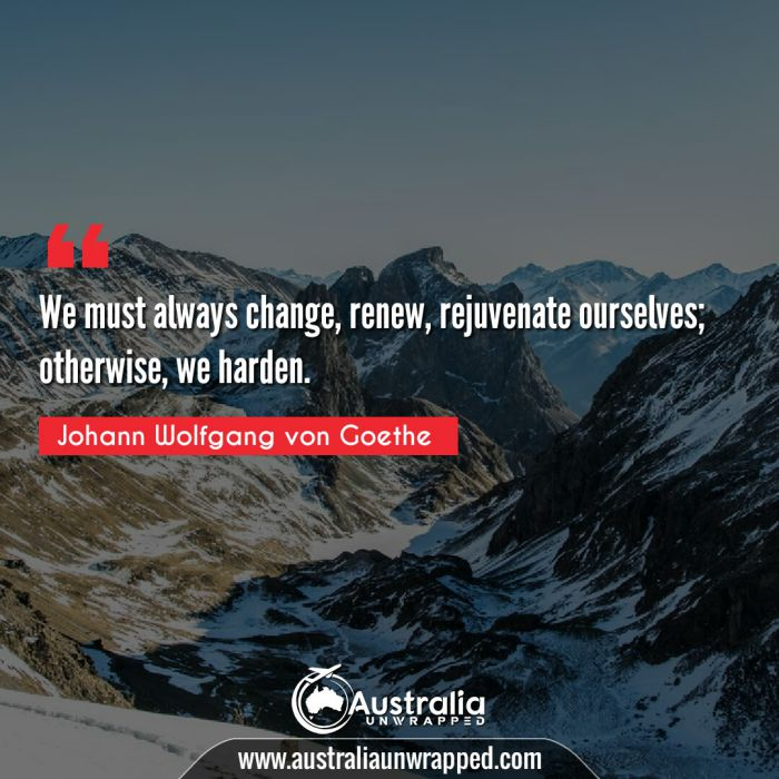 We must always change, renew, rejuvenate ourselves; otherwise, we harden.