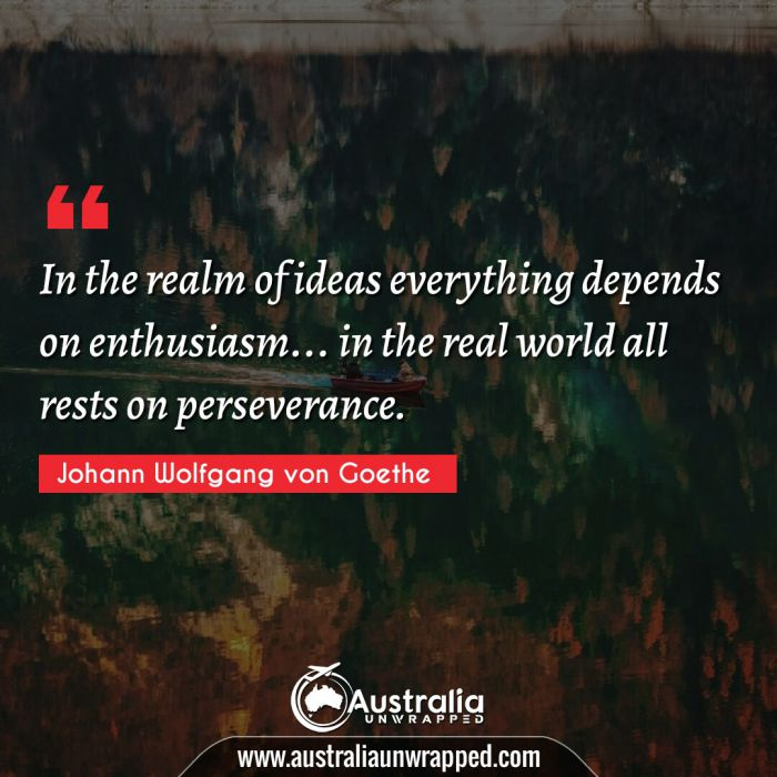 In the realm of ideas everything depends on enthusiasm… in the real world all rests on perseverance.